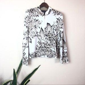 Ming Wang || Zip Up Knit Jacket Cardigan Sweater